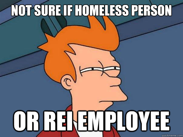 not sure if homeless person or rei employee - Futurama Fry