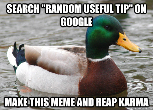 search random useful tip on google make this meme and reap - Actual Advice Mallard