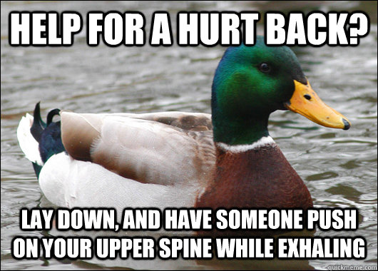 help for a hurt back lay down and have someone push on you - Actual Advice Mallard
