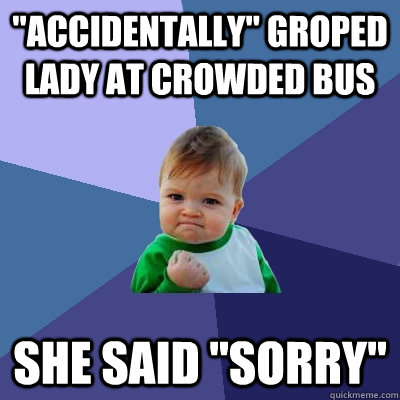 accidentally groped lady at crowded bus she said sorry - Success Kid
