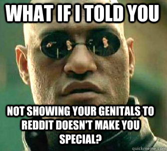 what if i told you not showing your genitals to reddit doesn - Matrix Morpheus