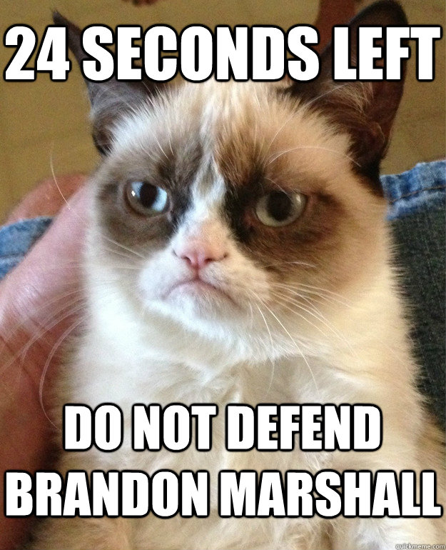 24 seconds left do not defend brandon marshall - Grumpy Cat