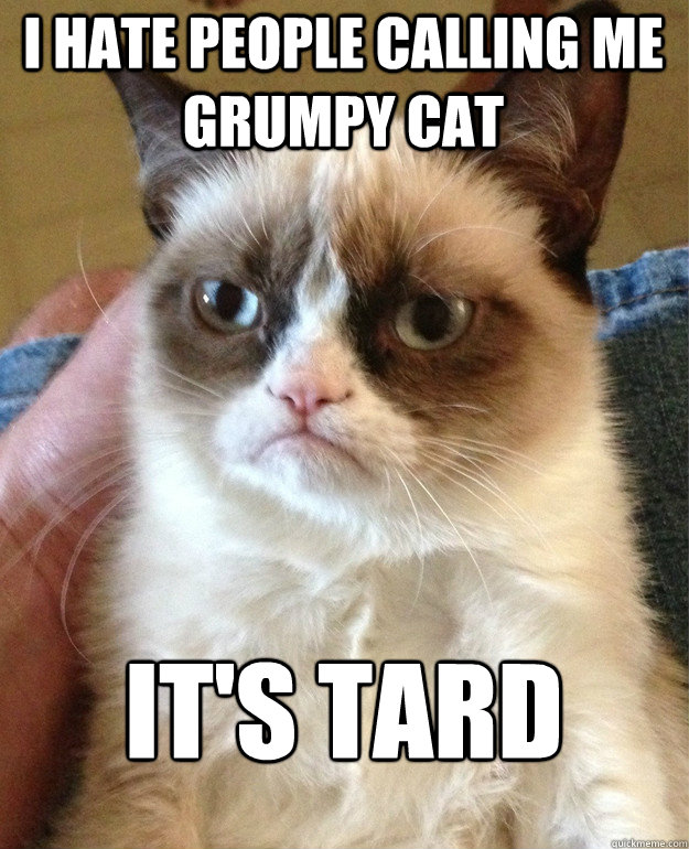 i hate people calling me grumpy cat its tard - Grumpy Cat