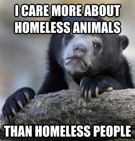 i care more about homeless animals than homeless people - Confession Bear