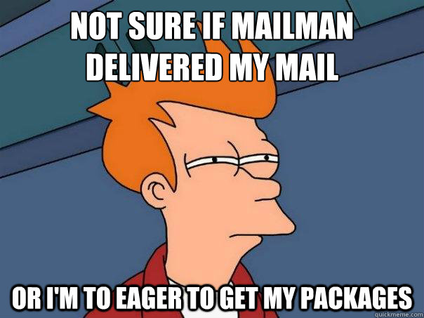 not sure if mailman delivered my mail or im to eager to ge - Futurama Fry