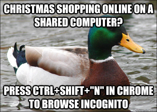 christmas shopping online on a shared computer press ctrls - Actual Advice Mallard