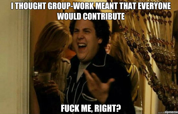 i thought groupwork meant that everyone would contribute fu - fuck me right
