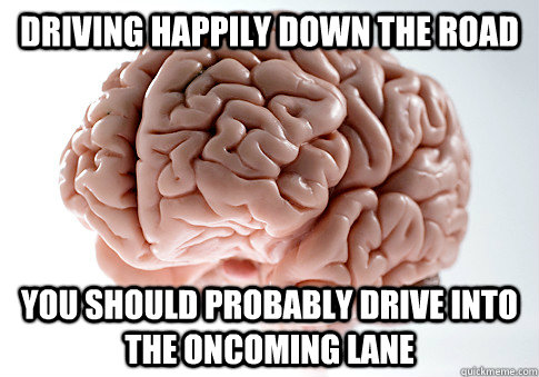 driving happily down the road you should probably drive into - Scumbag Brain