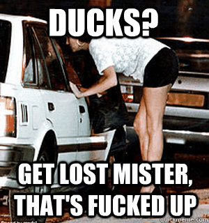 ducks get lost mister thats fucked up - Karma Whore