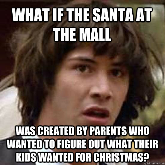 what if the santa at the mall was created by parents who wan - conspiracy keanu
