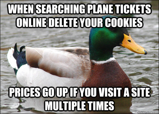 when searching plane tickets online delete your cookies pric - Actual Advice Mallard