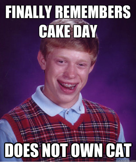 finally remembers cake day does not own cat - Bad Luck Brian
