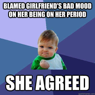 blamed girlfriends bad mood on her being on her period she  - Success Kid