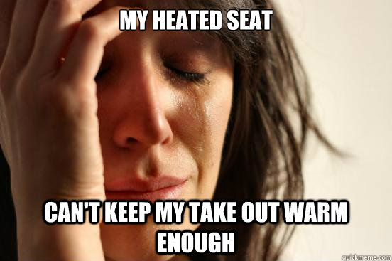 my heated seat cant keep my take out warm enough - First World Problems