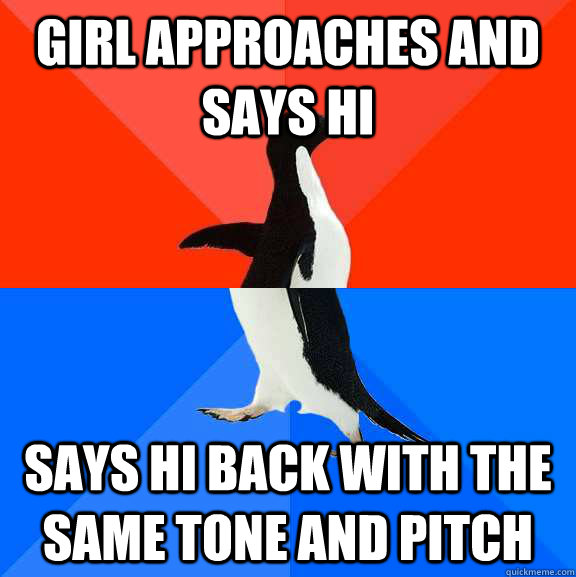 girl approaches and says hi says hi back with the same tone  - Socially Awesome Awkward Penguin