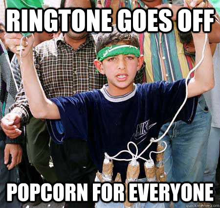 ringtone goes off popcorn for everyone - Bad Luck Bassem