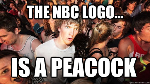 the nbc logo is a peacock - Sudden Clarity Clarence