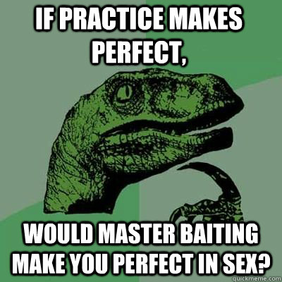 if practice makes perfect would master baiting make you per - Philosoraptor