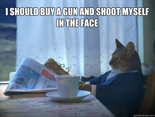 i should buy a gun and shoot myself in the face - The One Percent Cat