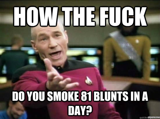 how the fuck do you smoke 81 blunts in a day - Annoyed Picard HD