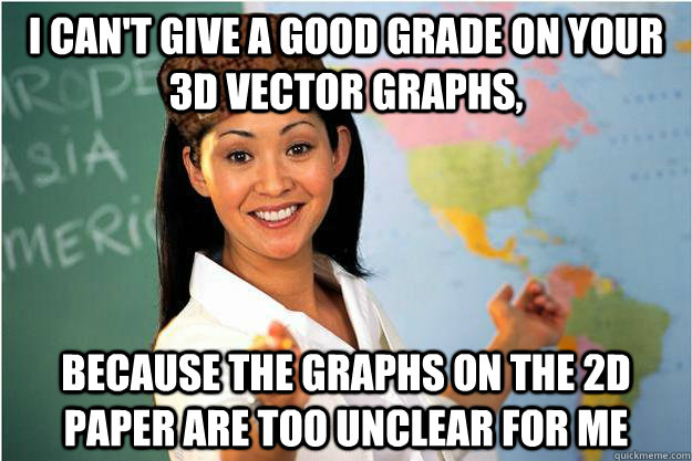 i cant give a good grade on your 3d vector graphs because  - Scumbag Teacher