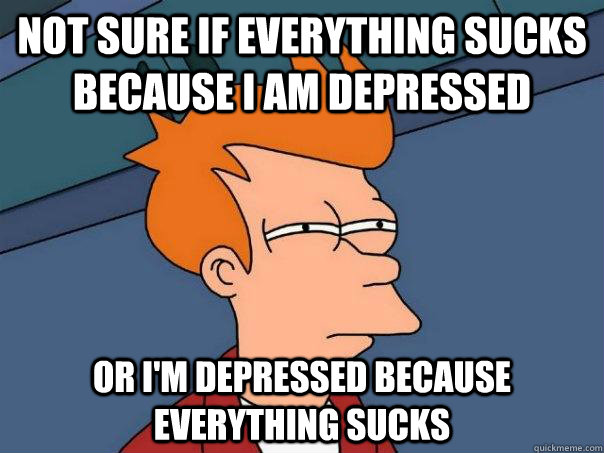 not sure if everything sucks because i am depressed or im  - Futurama Fry