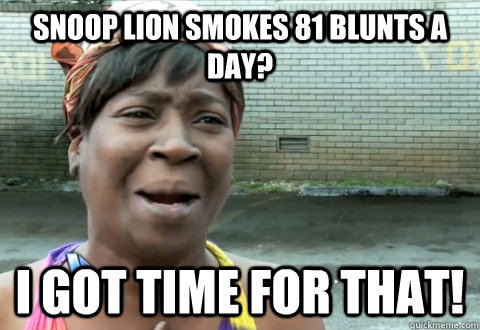 snoop lion smokes 81 blunts a day i got time for that - aint nobody got time
