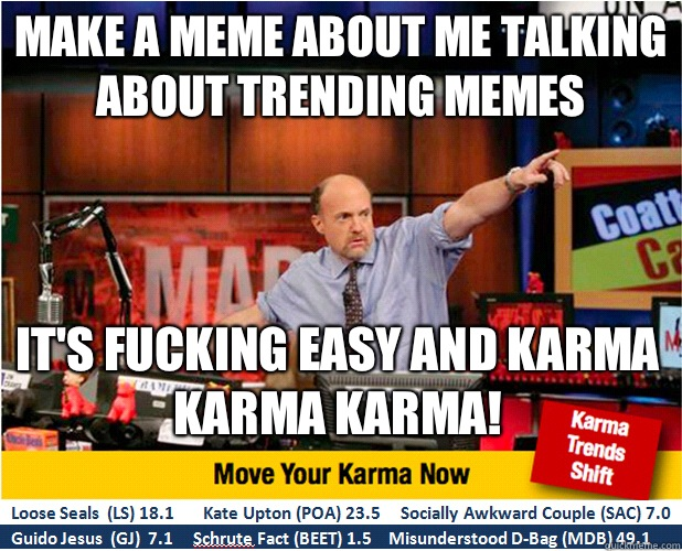 Make a meme about me talking about trending memes Its fuckin - Jim Kramer with updated ticker
