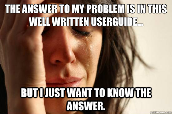 the answer to my problem is in this well written userguide - First World Problems