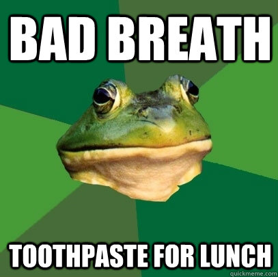 bad breath toothpaste for lunch - Foul Bachelor Frog
