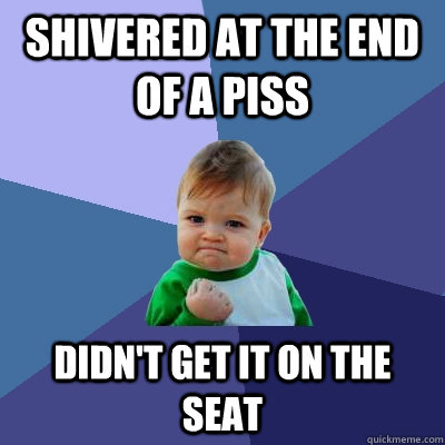 shivered at the end of a piss didnt get it on the seat - Success Kid