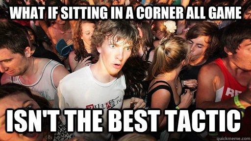 what if sitting in a corner all game isnt the best tactic - Sudden Clarity Clarence