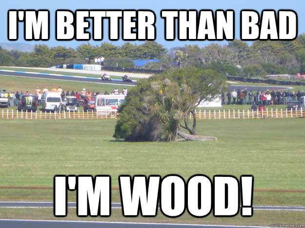 im better than bad im wood - Go home tree