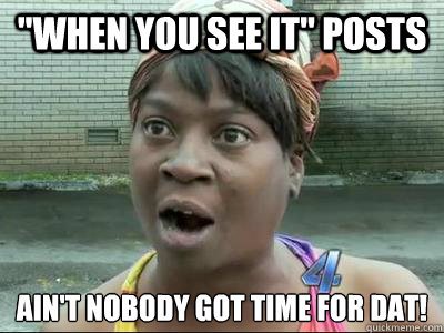 when you see it posts aint nobody got time for dat  - No Time Sweet Brown