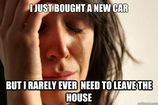 i just bought a new car but i rarely ever need to leave the - First World Problems