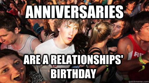 anniversaries are a relationships birthday - Sudden Clarity Clarence