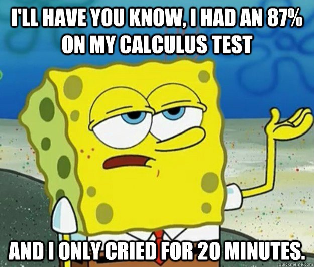 ill have you know i had an 87 on my calculus test and i o - Tough Spongebob
