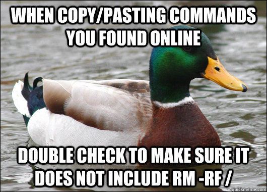 when copypasting commands you found online double check to  - Actual Advice Mallard