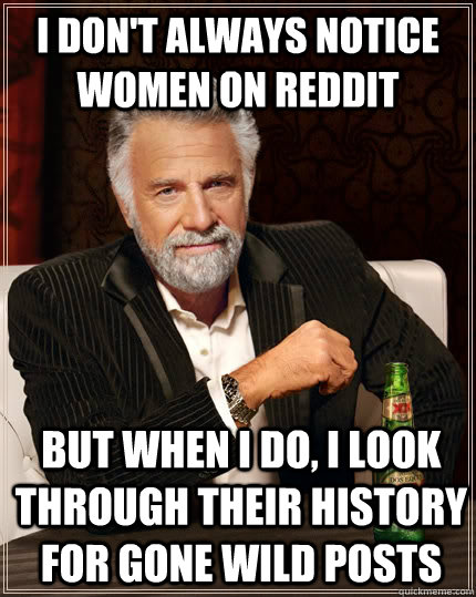 i dont always notice women on reddit but when i do i look  - The Most Interesting Man In The World