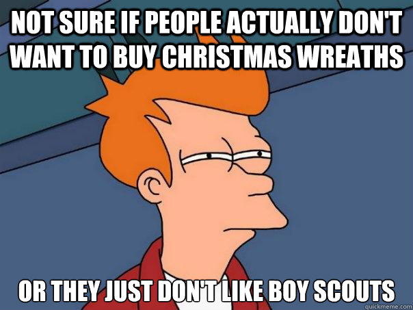 not sure if people actually dont want to buy christmas wrea - Futurama Fry