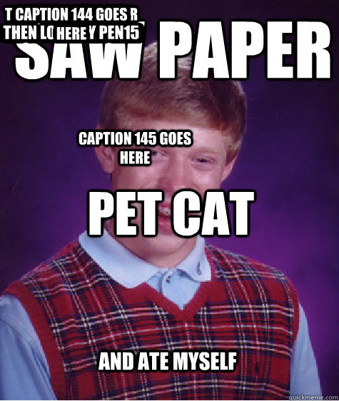 saw paper pet cat and ate myself and added another caption c - Bad Luck Brian