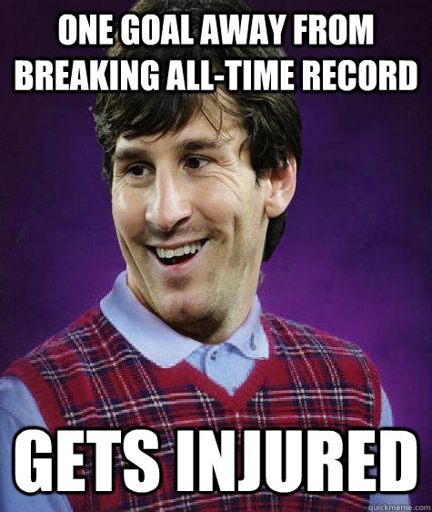 one goal away from breaking alltime record gets injured -