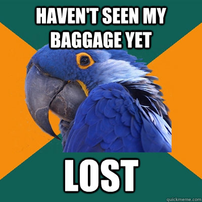 havent seen my baggage yet lost  - Paranoid Parrot