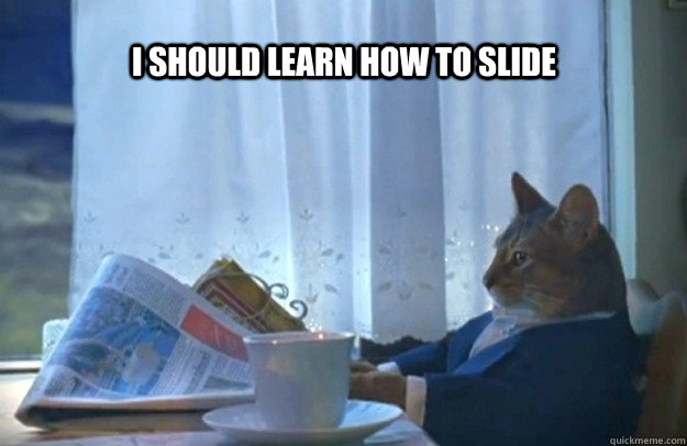 i should learn how to slide - Sophisticated Cat