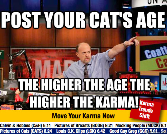 post your cats age the higher the age the higher the karma - Mad Karma with Jim Cramer