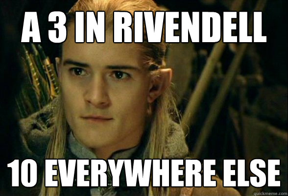 a 3 in rivendell 10 everywhere else -