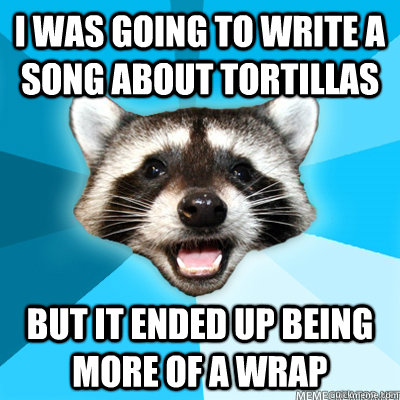 i was going to write a song about tortillas but it ended up  - Lame Pun Coon