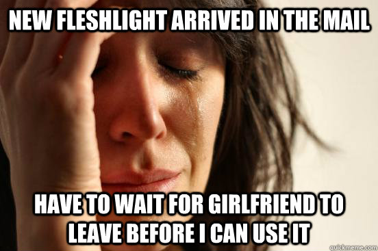 new fleshlight arrived in the mail have to wait for girlfrie - First World Problems