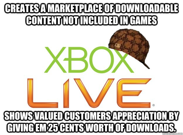 creates a marketplace of downloadable content not included i - Scumbag Xbox Live