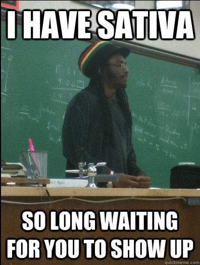 i have sativa so long waiting for you to show up - Rasta Science Teacher